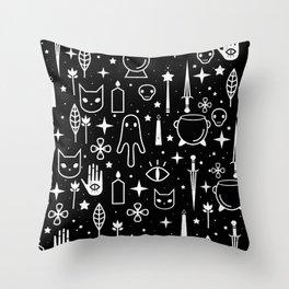 Spirit Symbols Black Throw Pillow