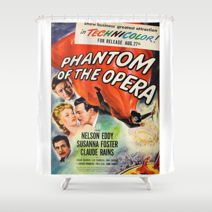 Vintage Horror Movie Poster Shower Curtain