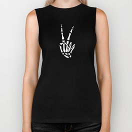 Peace skeleton hand Biker Tank