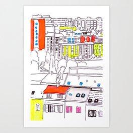 Suburb - city drawing Art Print