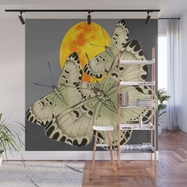 GOLDEN MOON MOTHS ON GREY Wall Mural