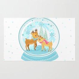 Winter Wonderland Reindeer Snow Globe Rug