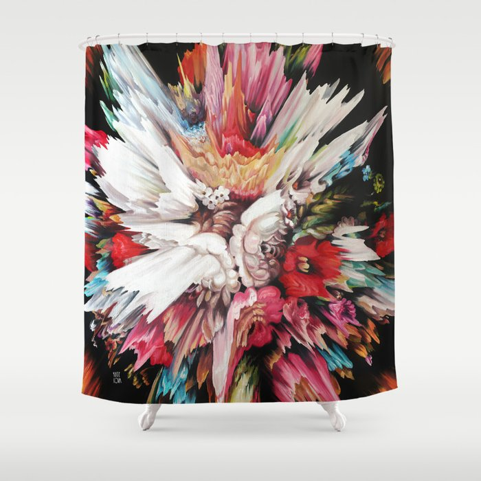 Floral Glitch II Shower Curtain