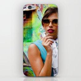 Woman and graffitti iPhone Skin