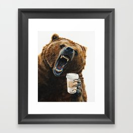 """"""" Grizzly Mornings """" give that bear some coffee Framed Art Print"""