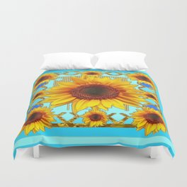 Blue Shades Yellow Sunflowers  Art Duvet Cover