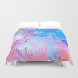 Abstract Candy Glitch - Pink, Blue and Ultra violet #abstractart #glitch Duvet Cover
