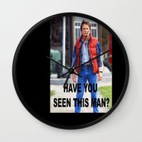 marty mcfly Wall Clocks featuring MARTY by Dora Birgis