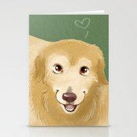 golden retriever Stationery Cards featuring Golden Retriever by Bark Point Studio