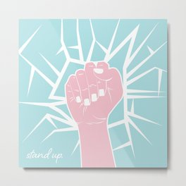 Stand Up Glass Ceiling Smash Metal Print