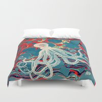 octopus Duvet Covers featuring Octopus by Pepe Psyche