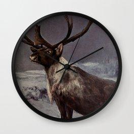Vintage Reindeer Painting (1909) Wall Clock