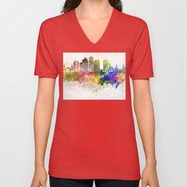 San Diego skyline in watercolor background Unisex V-Neck
