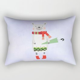 Cute Bear in Winter Wear Holding Umbrella Rectangular Pillow