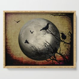 Rustic Black Bird Raven Crow Tree Dark Side of the Moon Gothic Art A169 Serving Tray