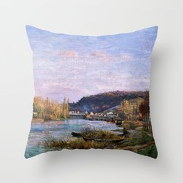 Camille Pissarro - The Seine At Bougival - Digital Remastered Edition Throw Pillow