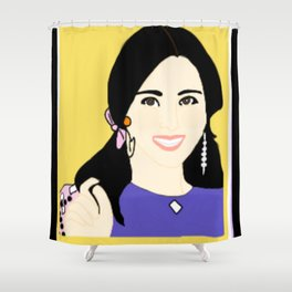 Knock Knock! Mina Yellow Shower Curtain