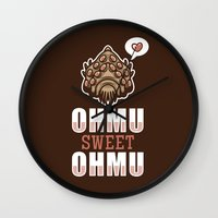 nausicaa Wall Clocks featuring Ohmu Sweet Ohmu by adho1982