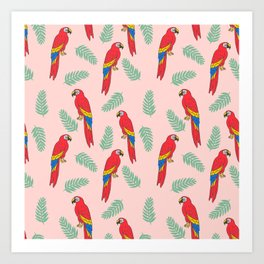 Macaw parrot tropical bird jungle animal nature pattern Art Print
