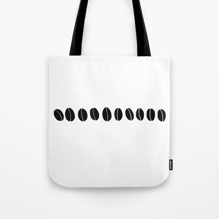 Black and White Coffee Beans Drawing by Emma Freeman Designs Tote Bag