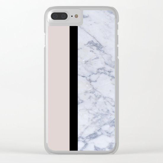 Modern minimalist blush marble Clear iPhone Case