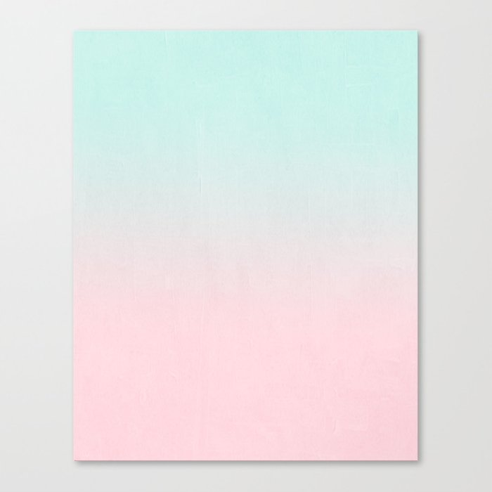 Ellie - ombre fade pastel pink and mint gender neutral nursery baby girly trend style Canvas Print