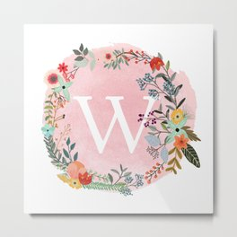 Flower Wreath with Personalized Monogram Initial Letter W on Pink Watercolor Paper Texture Artwork Metal Print