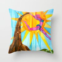 brand new Throw Pillows featuring Brand New Day by Heather Torres Art