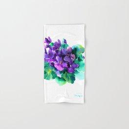Violet Flowers  Sainpaulia African Violets violet purple yellow floral decor Hand & Bath Towel