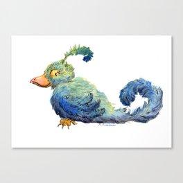 Smug Blue Bird Watercolor Canvas Print