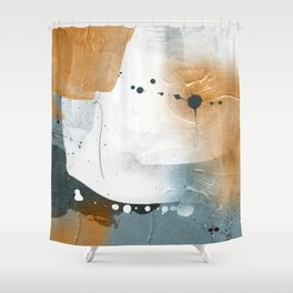 Abstract - Golden Depths 3 - Aqua and Gold Textured Design Canvas Print Shower Curtain