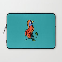 Color Bird on a Twig on Blue Laptop Sleeve