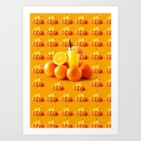 orange pattern Art Prints featuring Orange Pattern by Azeez Olayinka Gloriousclick
