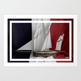 Le Coureur, french flag Art Print