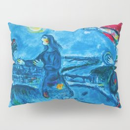 Lovers Over Paris, France landscape painting by Marc Chagall Pillow Sham