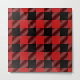 Western Country Woodland Christmas Cottage Primitive lumberjack Buffalo Plaid Metal Print
