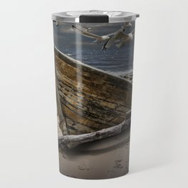 Gulls Flying over a Shipwrecked Wooden Boat Travel Mug