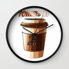 Powered By Coffee Funny Caffeine Beverages Coffee Brewer Beans Gift Wall Clock