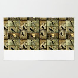Aged Crow Collage Rug