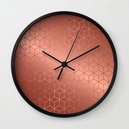 Gold Cubes 2 Wall Clock