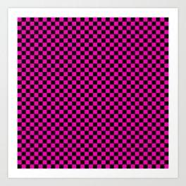 Bright Hot Neon Pink and Black Racing Car Check Art Print