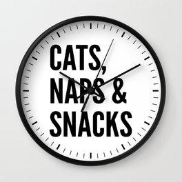 Cats, Naps & Snacks Wall Clock