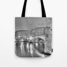 Bonaparte bridge in Lyon, France - hdr b&w Tote Bag