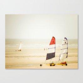 Sand yachting trio Canvas Print