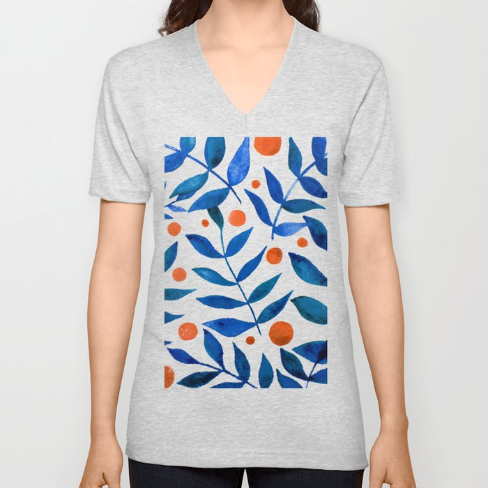 Watercolor berries and branches - blue and orange Unisex V-Ausschnitt