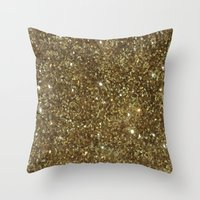 gold glitter Throw Pillows featuring Gold Glitter by NatalieBoBatalie