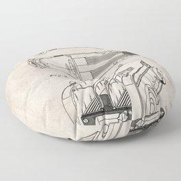 Fire Truck Patent - Fireman Art - Antique Floor Pillow