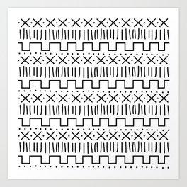 White + Black Mud Cloth Art Print