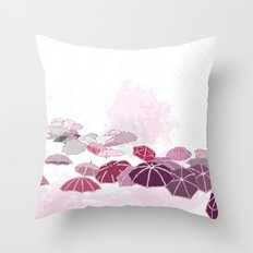 Rainy day in pink Throw Pillow