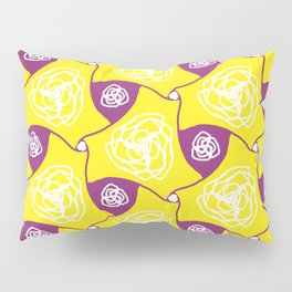 Yellow cabbage roses with plum lozenges Pillow Sham